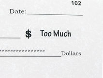 Conceptual photo of Check with Too Much. Close up Royalty Free Stock Photography