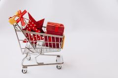 Conceptual photo of Christmas sales or gift shopping. stock photo