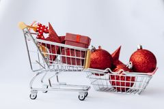 Conceptual photo of Christmas sales or gift shopping. stock images