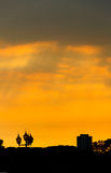Conceptual photo of downtown at sunrise sunset with. Conceptual photo of city downtown at sunrise sunset with Stock Images