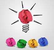 A Conceptual photo describing many ideas being floated on table. Folded papers in different colors Stock Photos