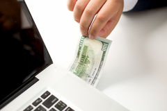 Conceptual photo of digital money transfer Royalty Free Stock Photo