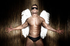 Conceptual photo of handsome, muscular male angel. Conceptual photo of handsome, muscular, naked male angel wearing sunglasses Royalty Free Stock Image