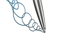 Ball point pen close up doodle. Conceptual photo illustration of ball point pen close up as it doodles an ink line Stock Photography