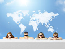 Conceptual photo of kids with a cloud map Stock Image