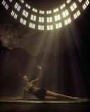 Conceptual photo of lady lying in the temple Stock Images