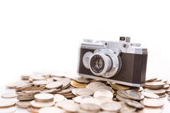Conceptual photo for microstock photography, making money. By camera shooting Royalty Free Stock Photo