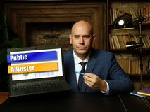 Conceptual photo about Public Adjuster with written phrase on the laptop