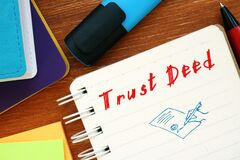 Conceptual photo about Trust Deed with handwritten phrase