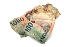 Conceptual photo of two dirty Indonesian banknotes Royalty Free Stock Photography