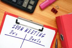 Conceptual photo about ZOOM MEETING Do`s and Don`ts with handwritten phrase