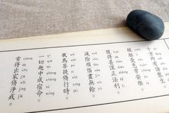 Studying buddhism scriptures stock images