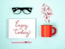 Conceptual photography with office supplies. Notebook for records. royalty free stock photo