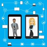 Conceptual picture of connection between gadgets. Conceptual picture of connection between gadgets, icons, networks,business peoples .Flat Vector illustration Royalty Free Stock Photography