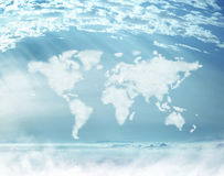 Conceptual picture of dense clouds in the worldwide shape Stock Image