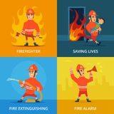 Conceptual pictures of firefighter and work equipment. Firefighter and protection firefighting, vector illustration Stock Image