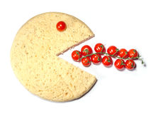 Conceptual pizza smile eat tomatoes. Isolated on white background Stock Photo