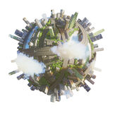 Conceptual Planet city 3d rendering Stock Photos