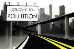 Conceptual pollution in big city view from road Stock Photos