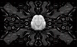 Conceptual Polygonal Brain with HUD elements. Background with futuristic user interface. Design concept with Head-up Stock Photo