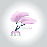 Conceptual polygonal sakura logo. Abstract vector Illustration, low poly style. Template for banner, poster, print, cover. Low poly style logo of the tree Royalty Free Stock Image
