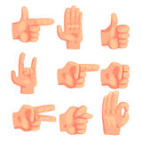 Conceptual Popular Hand Gestures Set Of Realistic  Icons With Human Palm Signaling Royalty Free Stock Photography
