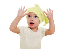 Conceptual portrait of a baby in the studio Royalty Free Stock Photos