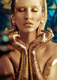 Conceptual portrait of a golden woman. Conceptual portrait of a glittering golden woman Stock Photos