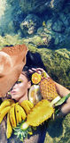 Conceptual portrait of a lady with bunch of fruit. Conceptual portrait of a lady with bunch of tropical fruit Stock Photos