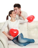Conceptual portrait of a young couple in love Stock Images