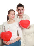 Conceptual portrait of a young couple in love Royalty Free Stock Photos