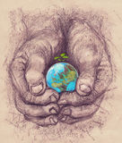 Conceptual poster for Earth Day. Human hands holding and protect a planet Earth. Ecology concept Royalty Free Stock Image