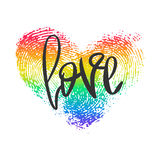 Conceptual poster with lettering and heart. Conceptual poster with hand lettering and fingerprint heart. Black handwritten phrase Love and LGBT rainbow Royalty Free Stock Image