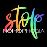 Conceptual poster with rainbow lettering. Conceptual poster with LGBT rainbow hand lettering. Colorful handwritten phrase Stop Homophobia isolated on black stock illustration