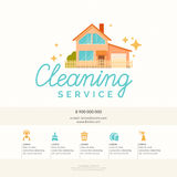 Conceptual poster and the logo for cleaning. Vector illustration Stock Photo