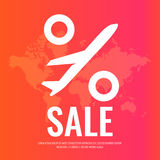 Conceptual poster sales and discounts of airplane tickets. Royalty Free Stock Photo