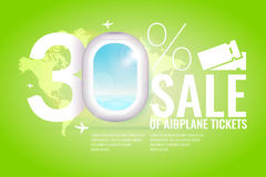 Conceptual poster sales and discounts of airplane tickets. Stock Photo