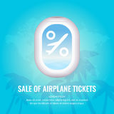Conceptual poster sales and discounts of airplane tickets. Stock Photos