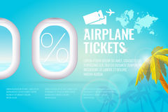 Conceptual poster sales and discounts of airplane tickets. Royalty Free Stock Image