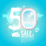 Conceptual poster sales and discounts of airplane tickets. Royalty Free Stock Photos
