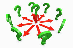 Conceptual question mark human standing around with question mar Royalty Free Stock Photos