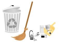 Conceptual recicle la ilustración con la escoba stock de ilustración