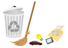 Conceptual recycle illustration with broom Royalty Free Stock Photos