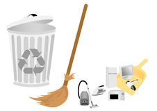 Conceptual recycle illustration with broom Stock Photography