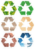 Conceptual recycling sign. With images of nature, isolated on white Royalty Free Stock Photo