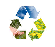 Conceptual recycling sign with images of nature Stock Photo