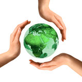 Conceptual Recycling Symbol Over Earth Globe Royalty Free Stock Image