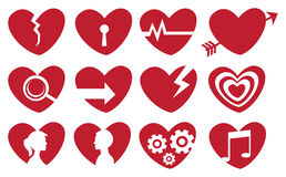 Conceptual Red Heart Icon Set Royalty Free Stock Image