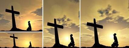 Conceptual religion cross with a man. Conceptual religion black cross with a man praying at sunset Royalty Free Stock Photography