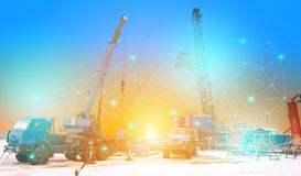 Conceptual representation of the future technologies, the use of artificial intelligence for the overhaul of an oil and gas well,. Fully automatic excluding royalty free stock images
